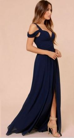 So Gorgeous! Love this Dress! Love the Sexy Off Shoulder Design! #Sex #Dark_Blue #Maxi #Dress #Fashion