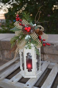 Holiday Lantern Christmas Lantern Decorative by TheBloomingWreath, $35.00