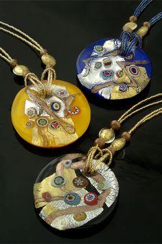 """Murano glass pendant handmade in Italy with """"murrine"""""""