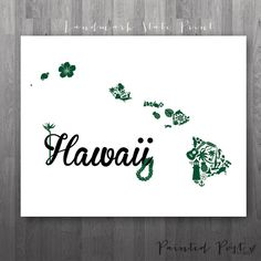 Honolulu Hawaii Landmark State Giclée Print  8x10 by PaintedPost, $15.00 #paintedpoststudio - University of Hawaii - Rainbow Warriors and Wahine. What a great gift Idea! So perfect for dorm decor! :)