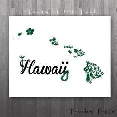 Honolulu Hawaii Landmark State Giclée Print  8x10 by PaintedPost, $15.00 #paintedpoststudio - University of Hawaii - Rainbow Warriors and Wahine. What a great gift Idea! So perfect for dorm decor! :)