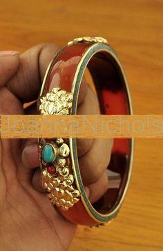 "Bracelet Nepal BOHO Artisan Red Coral Turquoise Glass Bangle 2.5"" Fine Fashion"