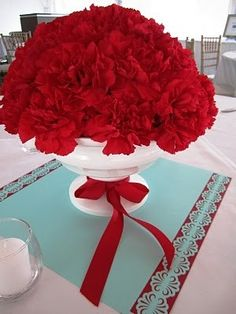 Even inexpensive carnations look good when you use this many red ones.
