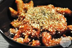 quick penne with tomato sauce, parmesan, pesto and herbs