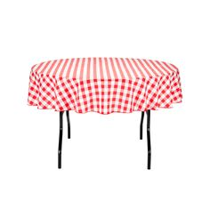 70 in. Round Tablecloth Red & White Checkered
