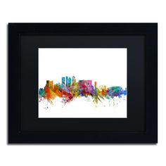 Cape Town South Africa Skyline by Michael Tompsett Framed Graphic Art in Black