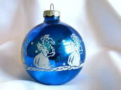 White Stenciled Angels on Large Blue Vintage Shiny by bythewayside, $6.00