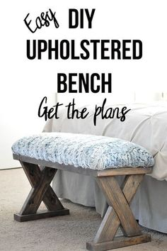 Love this bench! An easy and quick build!! And so cheap too! Perfect beginner woodworking project. Adds farmhouse look to your home. This DIY upholstered X-bench using only 2x4 comes. Get the… More Kids Woodworking Projects, Woodworking Furniture Plans, Fine Woodworking, Diy Wood Projects, Wood Furniture, Woodworking Equipment, Popular Woodworking, Woodworking Apron, Woodworking Chisels