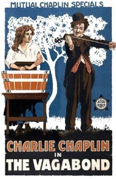 """The Vagabond is a silent film by Charlie Chaplin and his third film with Mutual Films. Released to theaters on July 10, 1916, it co-starred Edna Purviance, Eric Campbell, Leo White and Lloyd Bacon. This film echoed Chaplin's work on The Tramp, with more drama and pathos mixed in with the comedy. Bright vivid colored poster. Poster measures 18 x 24"""". $15.25 with Free Shipping at Michaels Vintage Décor."""