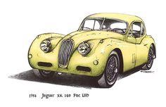 Yellow 1954 Jajuar XK140 FNC LHD Car $3