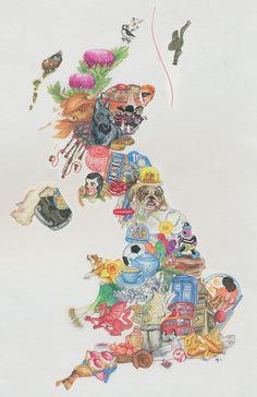 Fantastic entry for 'Best Of British' art competition - Derwent Pencils Map Of Britain, Kingdom Of Great Britain, British Values Display, School Displays, Class Displays, Derwent Pencils, Drawing Competition, Best Of British, Spirited Art