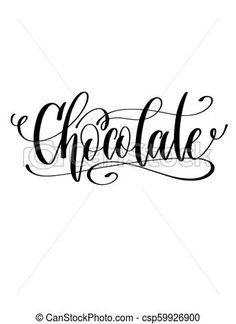 Hand Lettering Chocolate Royal Logo, Planning And Organizing, Vector Clipart, Hand Lettering, Clip Art, Organization, How To Plan, Chocolate, Black And White