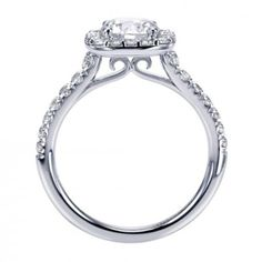White Gold Cushion Shaped Halo Engagement Ring for Round or Cushion Cut Diamond @ Wedding Day Diamonds