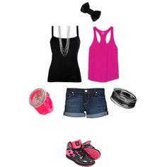"""Teen Pink Black"" by okbudgirl on Polyvore"