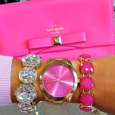 Michael Kors, Kate Spade, pink and bling - what more could a girl want? Mk Handbags, Handbags Michael Kors, Michael Kors Bag, Michael Kors Watch, Designer Handbags, The Bling Ring, Bling Bling, Coque Smartphone, Necklaces