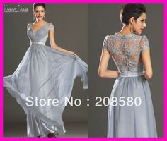 2014 New Arrival Elegant Beaded Silver Grey Chiffon Lace Cap Sleeve Floor Length Evening Dresses Prom Gowns E3997