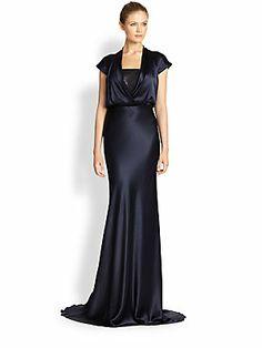 Carmen Marc Valvo Cap-Sleeve Satin Gown
