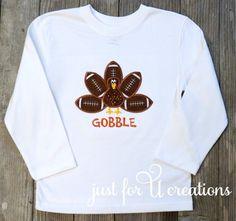 Boy Infant Toddler Football Thanksgiving Turkey LS Embroidered T-Shirt Gobble #Garanimals #ThanksgivingFootballHoliday