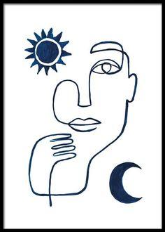 Gold Poster, Blue Poster, New York Poster, Kunst Online, Art Online, Buy Posters Online, Abstract Face Art, Kunst Poster, Scandinavian Design