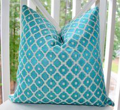 Decorative Pillow Cover - 20 x 20 Aqua Blue Turquoise Geometric Tile Designer Pillow Cover - Throw Pillow - $52