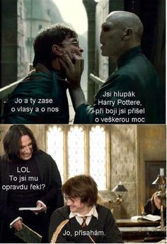 Severus, Harry And Voldemort Harry Potter Texts, Harry Potter Magic, Good Jokes, Funny Jokes, Jarry Potter, Weird Words, Voldemort, Man Humor, Funny People