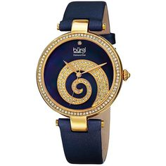 Burgi  Round Blue Mother of Pearl and Yellow Gold Dial with Swarovski... ($69) ❤ liked on Polyvore featuring jewelry, watches, burgi watches, gold jewelry, gold jewellery, mother of pearl jewelry and quartz movement watches