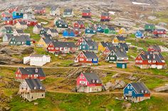 Homes in Greenland and Iceland paint their homes in bright colors so they will be recognized by their inhabitants when the snow covers them with a white mantle.