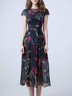 Multicolor Short Sleeve Silk Floral-print Midi Dress
