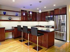 Kitchen:Lovely Furniture Italian Kitchen Design With Wooden Cabinets Decorating With Stainless Steel Refrigerator Also Stove And Oven Plus Countertops And Bar Stools Plus Shelving As Well As Laminate Floor Stunning and Inspirational Modern Italian Kitchen Design