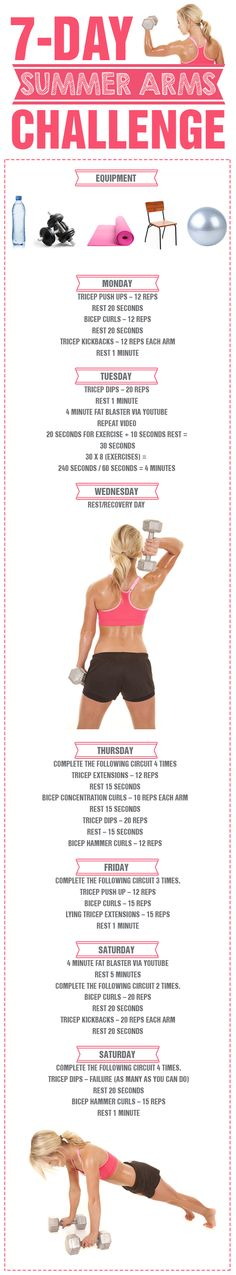 7 Day Summer Arms Challenge - there is no better time to get those beautifully toned and defined arms! #summerstrong