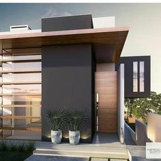 like the color of wood stain (more grey and less orange). I like the color combo of white, dark grey and this wood color. Facade Design, Exterior Design, Residential Architecture, Modern Architecture, Style At Home, Casa Clean, Dream House Exterior, Facade House, Modern Exterior