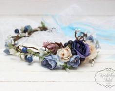 Flores corona flor diadema diadema nupcial flor por ByKochetova