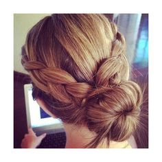 casual braid bun hairstyle Hairstyles and Beauty Tips ❤ liked on Polyvore