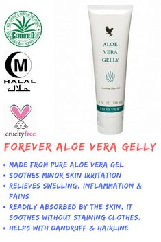 Essentially identical to the aloe vera's inner leaf, Forever Aloe Vera Gelly is stabilized aloe vera gel and it lubricates sensitive tissue safely. It also soothes minor skin irritations, relieves swelling, inflammation and pains. Forever Living Aloe Vera, Forever Aloe, Aloe Vera Skin Care, Aloe Vera Gel, Skin Tags Home Remedies, Aloe Vera For Hair, Forever Living Products, Skin Care Tips, Forever Business