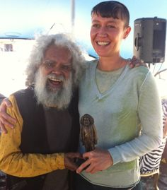 Actor and activist Uncle Jack Charles and #Swell2013 sculptor Leonie Rhodes yesterday at Call to the Couch with Kathy McLeish. (Photo by Kathy McLeish)