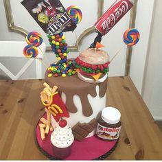 M&m , Coca Cola , nutella , mc Donald's , hamburger , lolipop kek - cake - Birthday cake