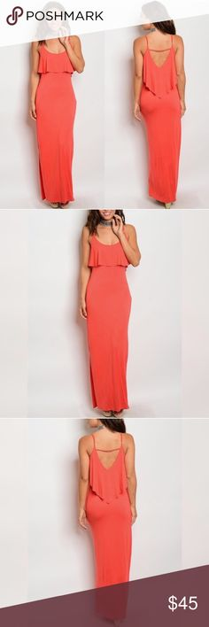 Flirty Coral Maxi Dress Sweet, Bright and Romantic! Comfy too! Adorable easy to wear dress for the spring and summer months *** Price not negotiable unless bundled*** Dresses Maxi