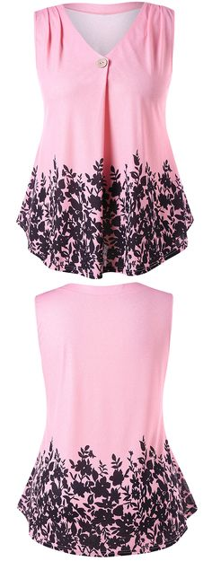 This casual feminine T-shirt features flowered branches pattern on the bottom with swing silhouette, ruched shoulder and one button to decorate the collar.#tshirts