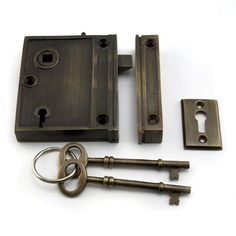 Vertical Brass Rim Lock Set with Striped Brown Porcelain Knobs - Left Hand - Antique Brass