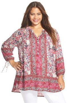 Lucky Brand Floral Woodblock Print Peasant Top (Plus Size) available at #Nordstrom