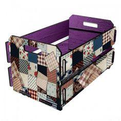 caixote de madeira patchwork