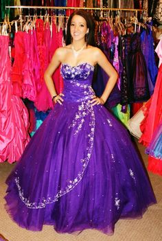 Purple long formal prom dress! Available for rent at Dazzling Dress Rentals in Riverton, UT 8018084656
