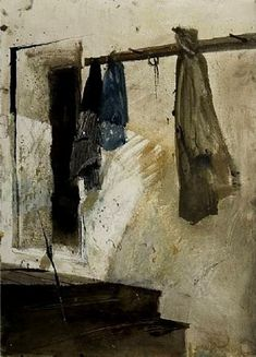 Marshalton Shed by Andrew Wyeth.  Wyeth is able to pull off the most uncanny feelings about a location while turning what could be an ordinary still-life into an amazing abstract. A real tour-de-force painting that looks oh so simple.