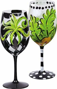Barware, Grantham House,Handpainted Wine Glass 12 oz,Glass,3.5x9 Inches,Assorted 2 by Cypress Home. $33.88