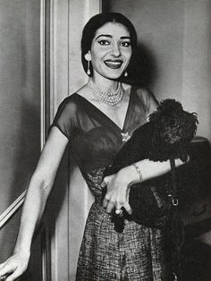 Maria Callas and her poodle in Cologne Germany (1957)