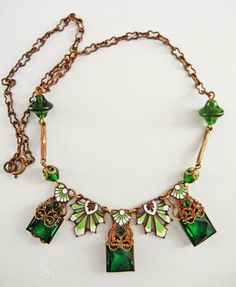 Nouveau/Deco Gold Filigree and Green Enamel Necklace