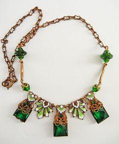 Nouveau/Deco Gold Filigree and Green Enamel Necklace