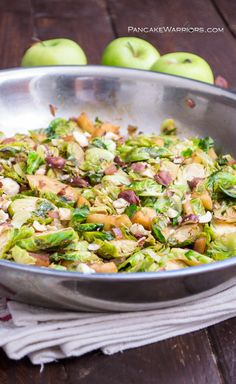 Sweet apples paired with caramelized Brussels Sprouts and chopped hazelnuts combine to be a drool worthy hash. Perfect recipe for breakfast, brunch, lunch or dinner. Vegan, gluten free, paleo.   www.pancakewarriors.com