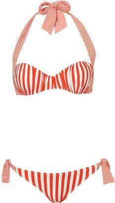 Red Stripe Gathered Bikini