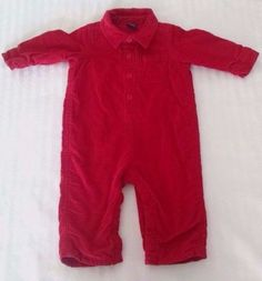 Baby Gap Romper 6-12M Red Corduroy Button Front Coverall Long Sleeves Lined  #babyGap #ValentinesDayChristmasDressyEverydayHoliday